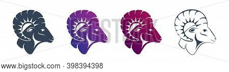 Set Of Ram Head Profile Icons With A Large Horn. Side View. Zodiac Astrological Symbol Of The Sheep.