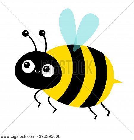 Cute Flying Bee. Honeybee Bumblebee Icon. Cartoon Kawaii Baby Character. Insect Collection. Greeting