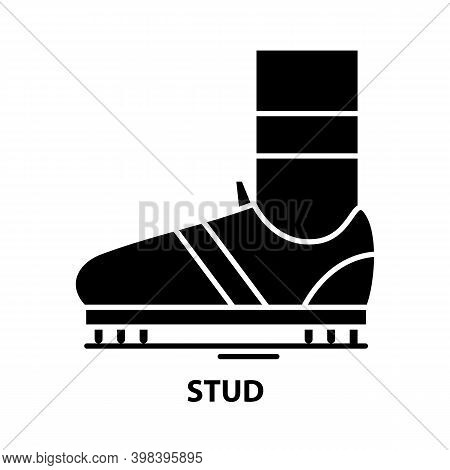 Stud Icon, Black Vector Sign With Editable Strokes, Concept Illustration