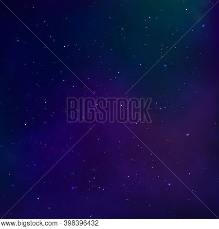 Starry Night Sky. Universe Nebula. Outer Space And Milky Way. Vector
