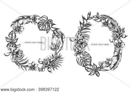 Floral Wreath Of Black And White Monstera, Banana Palm Leaves, Strelitzia, Heliconia, Tropical Palm