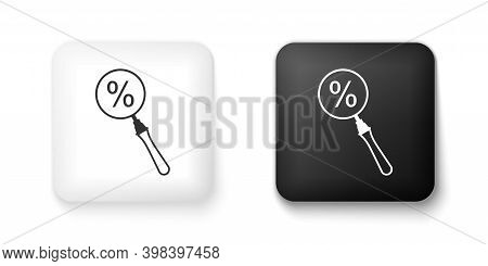 Black And White Magnifying Glass With Percent Discount Icon Isolated On White Background. Discount O