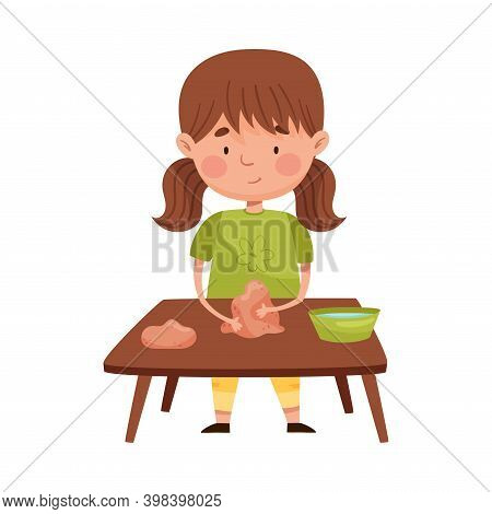 Little Girl With Ponytails Standing At Table And Moulding Clay Vector Illustration