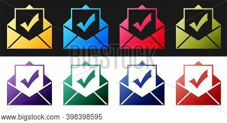 Set Envelope With Document And Check Mark Icon Isolated On Black And White Background. Successful Em