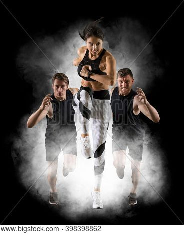 Sport collage. Man and woman on smoke background. Sports banner