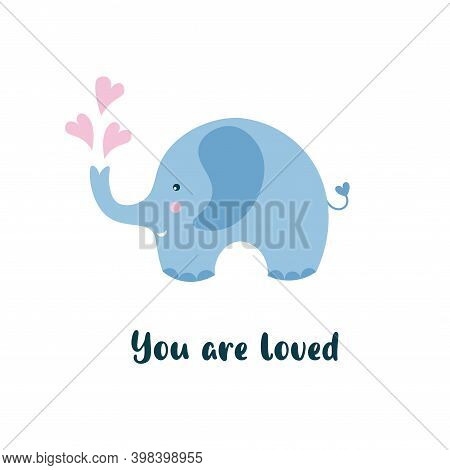 Kids Cartoon Illustration Of A Cute Baby Elephant. Baby Shower. Valentine's Day. Baby Valentine. You