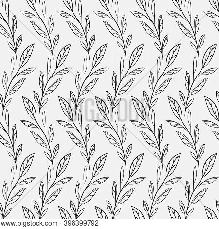 Vector Seamless Pattern With Abstract Foliate Branches; Vertical Twigs; For Greeting Cards, Wrapping