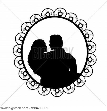 Silhouette In Frame Of Man Holding Woman In Her Arms. Illustration Symbol Icon