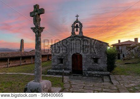 A Guarda, Galicia / Spain - 3 December 2020: View Of The Ermida De Santa Trega Chapel In Galicia