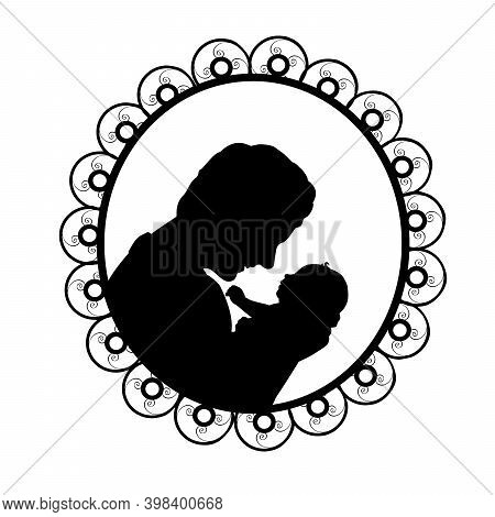 Silhouette In Frame Happy Father Holding Newborn Little Baby. Illustration Symbol Icon