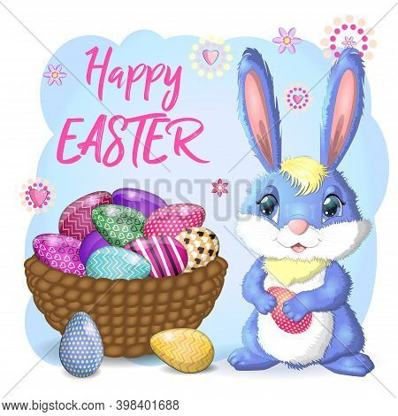 Easter Bunny Rabbit Cartoon Character With Basket Full Of Painted Easter Eggs.
