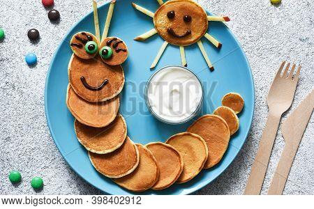 Funny Caterpillar With Eyes. Pancake Caterpillar, Funny Kids Breakfast.
