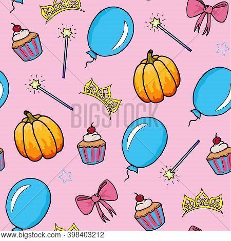 Seamless Pattern For A Little Princess. Magic Wand, Bow, Stars, Pumpkin, Balloon, Cupcake And Diadem