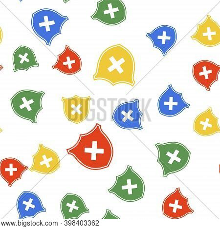 Color Shield And Cross X Mark Icon Isolated Seamless Pattern On White Background. Denied Disapproved