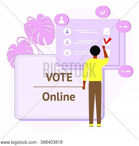 Vector Illustration People Vote Online For Candidate On Tablet Election Campaign Online Choices Poli