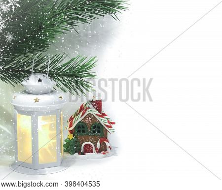 White Luminous Lantern With Stars, Green Pine Branches And Gingerbread House Isolated On A White Bac