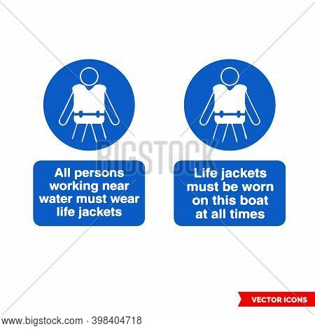 Water Safety Mandatory Signs Icon Set Of Color Types. Isolated Vector Sign Symbols. Icon Pack.