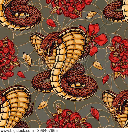 Colorful Vintage Japanese Seamless Pattern With Aggressive Poisonous Snake Sakura And Chrysanthemum