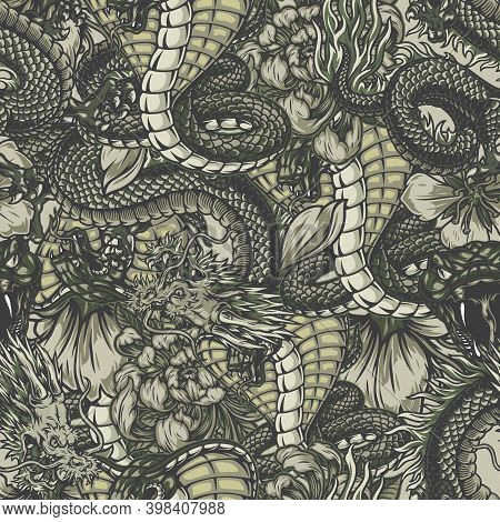 Japanese Vintage Elements Seamless Pattern With Angry Poisonous Snake Dangerous Fantasy Dragon Chrys