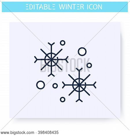 Snowflackes Line Icon. Winter Weather, Snowfall. Winter Holidays And Leisure Concept. Christmas Mood