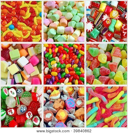 Colorful Candy Collage