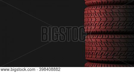 Four tires stacked on top of each other. Good graphics for use as a background or banner for a tire store, storage room, tire service. 3d illustration on dark background