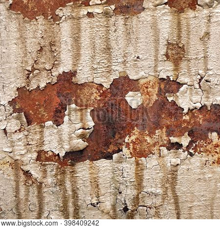 Old Brown Peeling Paint Stain On Vintage Metal Surface Background. Scratch Effect Antique Wall Mater