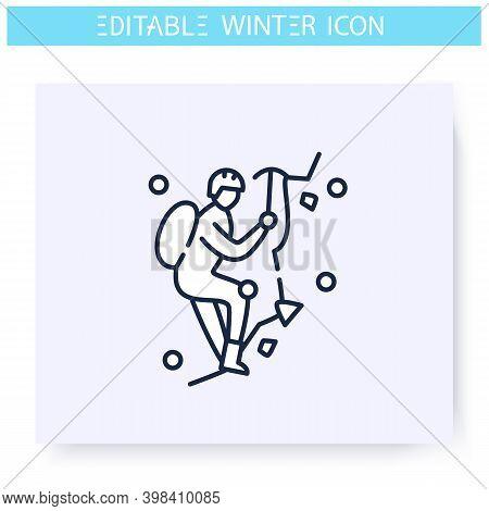 Ice Climbing Line Icon. Man Climbing Ice Rock. Alpinist Climbs To The Top. Winter Holidays And Leisu