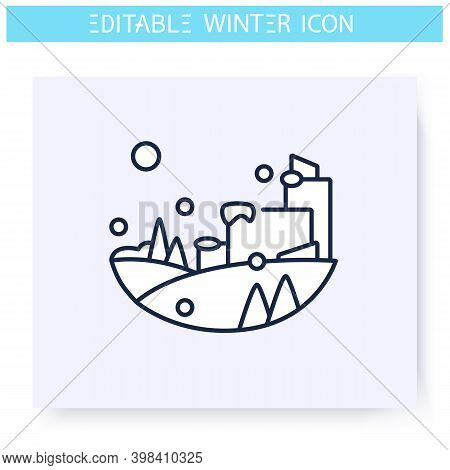Winter Landscape Line Icon. Snowy City. Winter Walk. Falling Snowflakes. Winter Holidays And Leisure