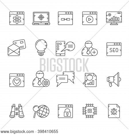 Line Ceo, Marketing, Social Media And Influence Icons - Vector Icon Set