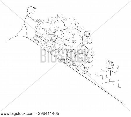 Vector Cartoon Stick Figure Illustration Of Man On Top Of Hill Creating Avalanche Of Rocks Falling O
