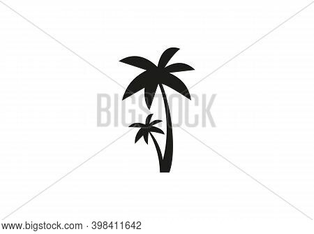 Palm Tree Design Vector. Tropical Beach And Palm Tree Logo Design. Creative Simple Palm Tree Vector