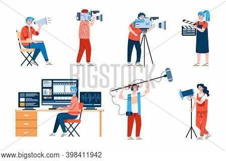 Professional Filmmakers With Equipment Set Of Flat Cartoon Vector Illustrations Isolated On White Ba