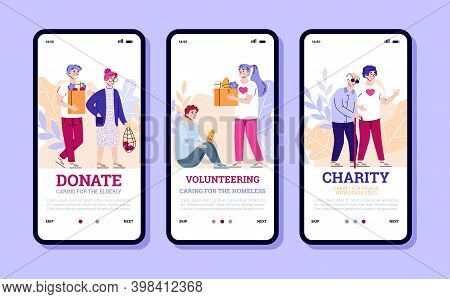 Onboarding Pages Set For Volunteering And Charity For Homeless And Elderly People, Cartoon Vector Il