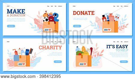 Charity And Donation Concept. Set Of Vector Landing Page Templates With Cardboard Boxes Full Of Food