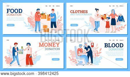 Vector Set Of Landing Page Templates With Charity And Donation Concept. People Volunteers Donate Foo
