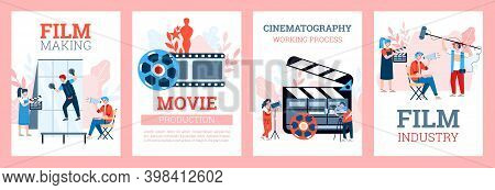 Banners Or Posters Set Of Cinematography And Filmmaking Industry, Cartoon Vector Illustration. Socia