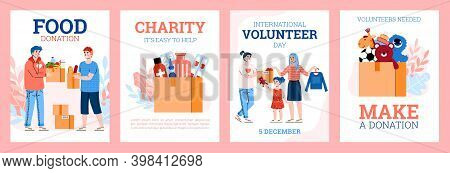 Vector Set Of Posters For International Volunteer Day. People Collect Donations In Cardboard Boxes -