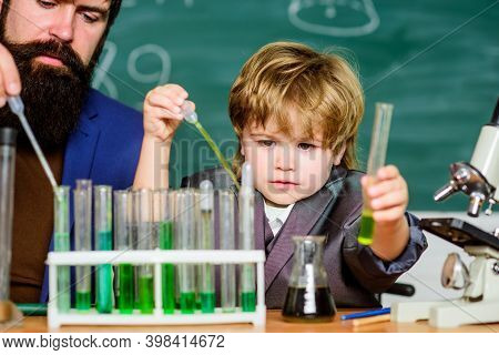 Genius Kid. Joys And Challenges Raising Gifted Child. Teacher Child Test Tubes. Chemical Experiment.