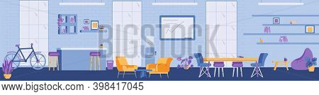 Banner With Interior Of Modern Open Coworking Space In Office Or Center. Empty Workspace For Work In