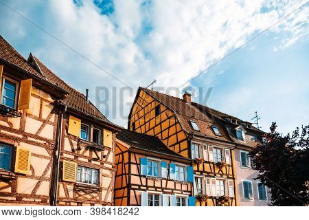 Street view of Traditional houses in La Petite France, Strasbourg, Alsace, France
