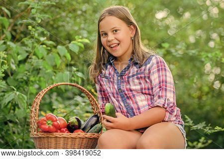 Summer Harvest Concept. Healthy Homegrown Food Concept. Girl Cute Smiling Child Living Healthy Life.