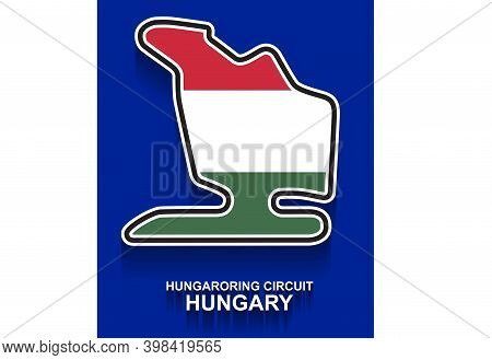 Hungary Grand Prix Race Track For Formula 1 Or F1 With Flag. Detailed Racetrack Or National Circuit