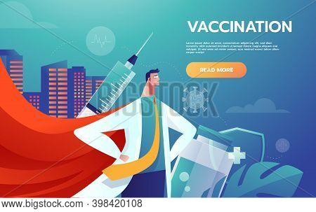 Heroes Doctors Leader Fighting Corona Virus Symptoms. Doctors Heroes Vector Artwork. Doctors Fightin