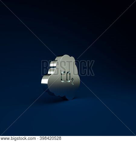 Silver Co2 Emissions In Cloud Icon Isolated On Blue Background. Carbon Dioxide Formula, Smog Polluti