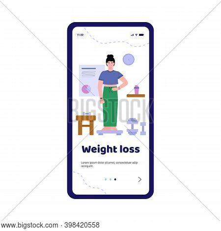 Onboarding Mobile Page Template For Nutritionist Or Dietitian With Woman Standing On Scale, Cartoon