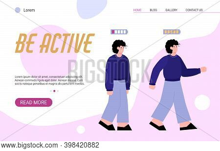 Vector Landing Page Template With Tired Sad And Happy Energetic Young Man. People With Low And High