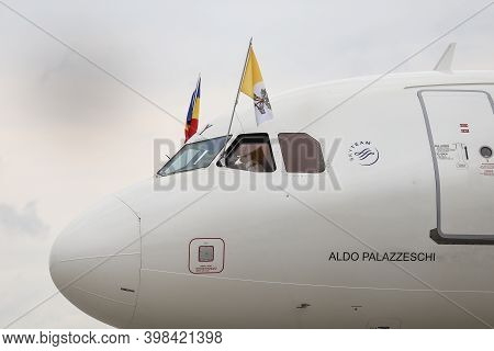 Otopeni, Romania - May 31, 2019: The Alitalia Plane With Which Pope Francis Came To Romania.