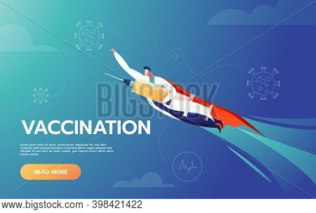 Doctor Is Hero Holding Vaccine And Flying To Protect People By Fighting Against Covid-19 Corona Viru
