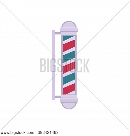 Vintage Barber Pole Striped Sign With Silver Details, Flat Vector Illustration Isolated On White Bac